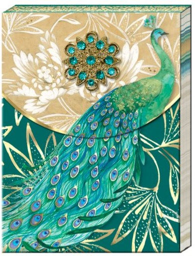 Emerald Peacock Brooch Notepad