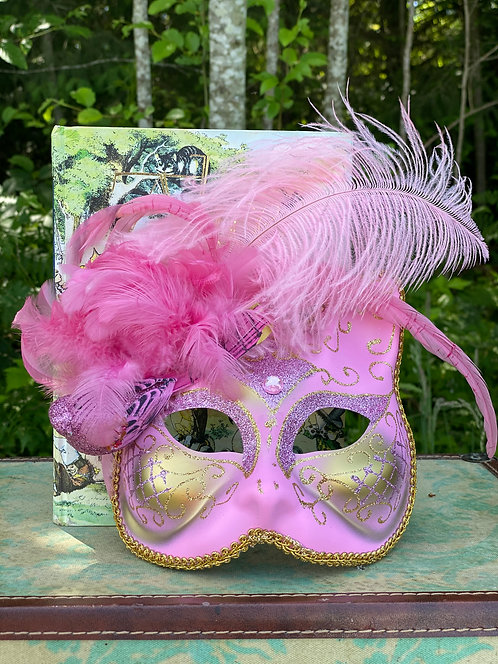 Feathered Pink Cat Mask