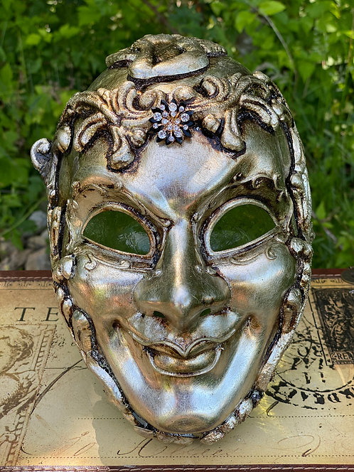 Silver Baroque Cherub Mask