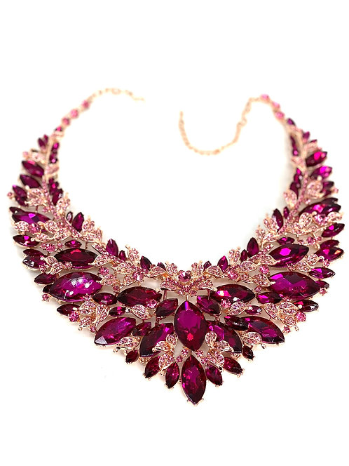 Purple Gem/Leaf Necklace