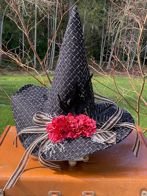 Thatched Black Witch Hat