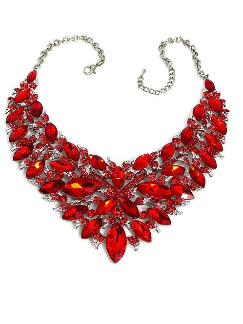 Red Gem/Leaf Necklace