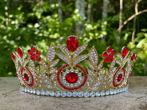 Crystal Medallion Tiara in Red