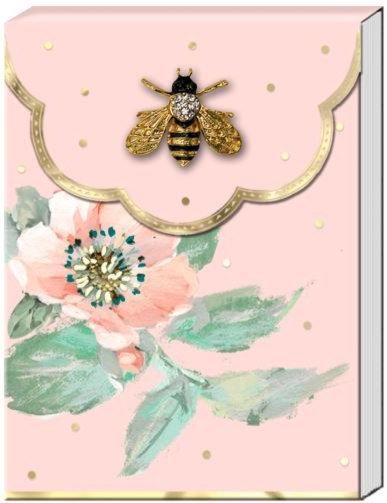 Pink floral Bee Brooch Notepad