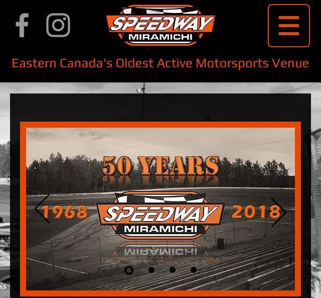 Speedway Miramichi's website's new mobile version.