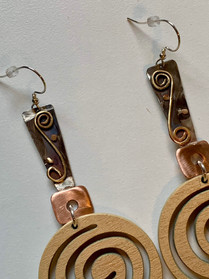 Mixed Metal Wooden Swirl Earrings