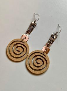 Mixed Metal Wooden Swirl Earrings