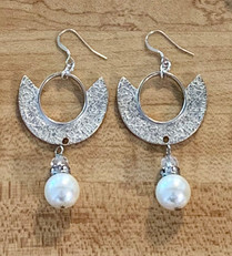 Silver & Pearl Modern Hoop Earrings