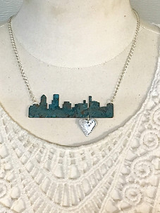 Heart of Portland Cityscape Necklace