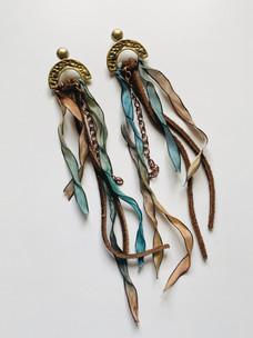 Ribbon & Chain Chandelier Earrings