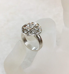 Textured Bowl Ring Silver