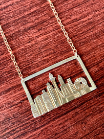 Seattle Cityscape Brass Necklace