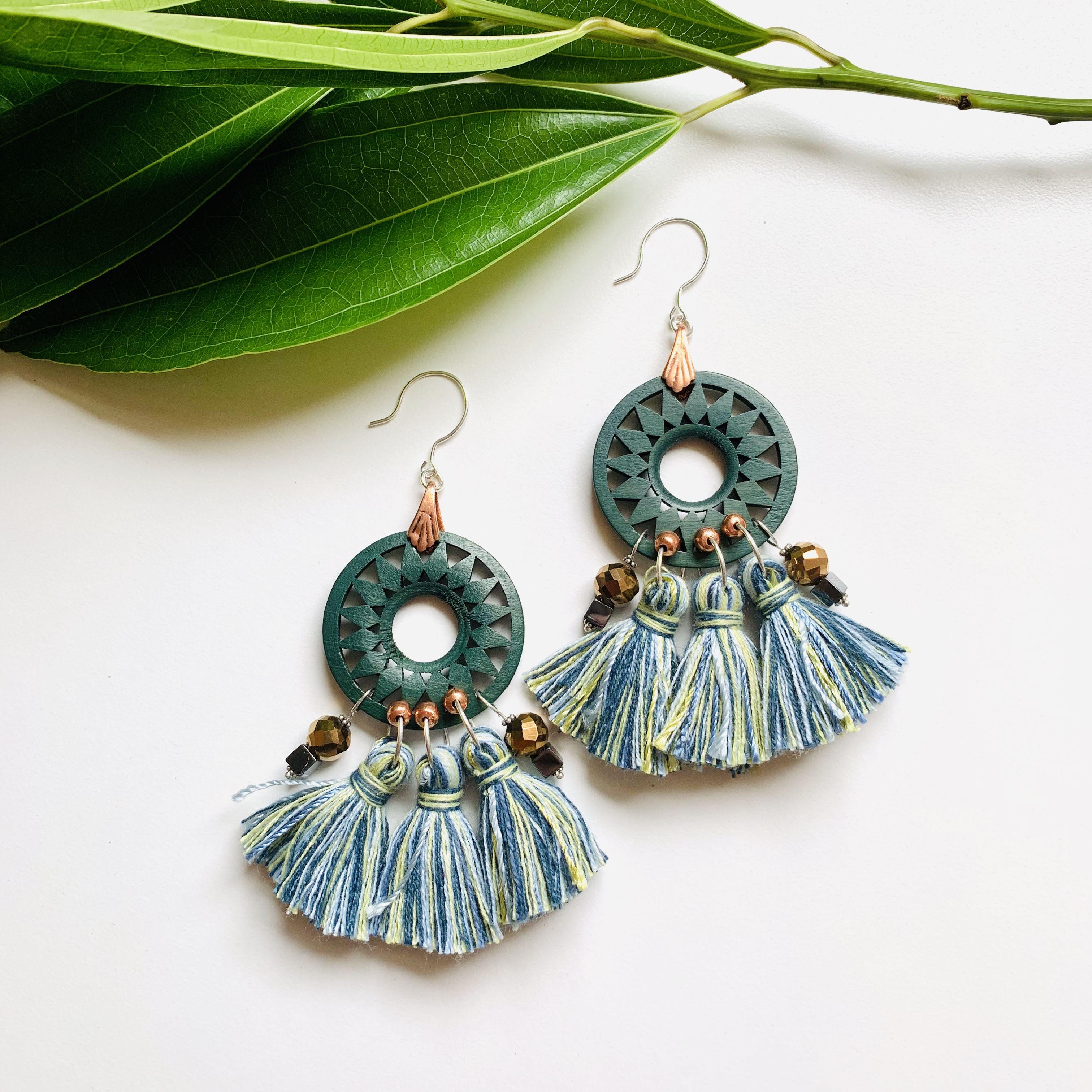 Forest Green Wooden Fringe Earrings