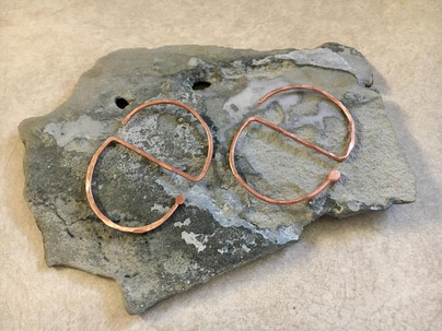 Contemporary Solid Copper Earrings