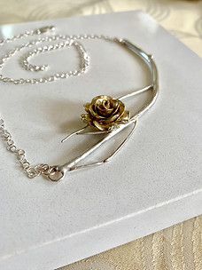 Whimsy City Of Roses Silver Branch Necklace