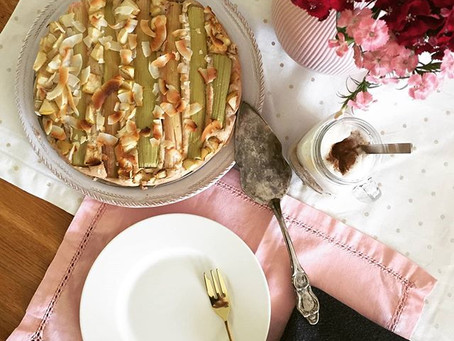 Rhabarber-Kuchen vegan, gluten-, laktose- HIT-,fast zuckerfrei