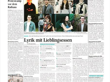 Lyrik mit Lieblingsessen - Preis der HD-Autor:innen am 18.01.21 im Mannheimer Morgen