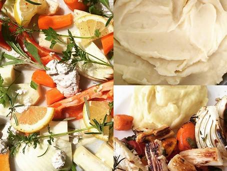Überbackener Spargel mit veganem Kartoffelpüree