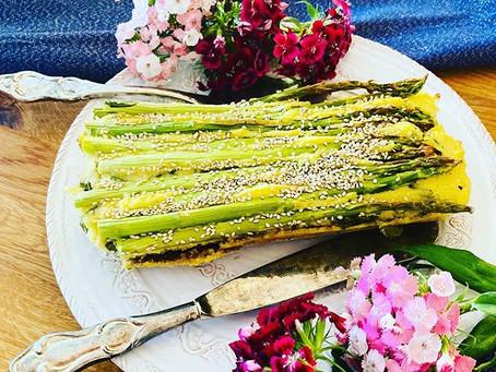 vegane grüne Spargel-Quiche