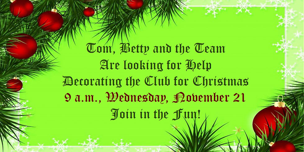Decorating the Club for Christmas