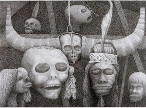 Dead Heads, 2007, pen and ink. £1,200. Giclee print, £30.