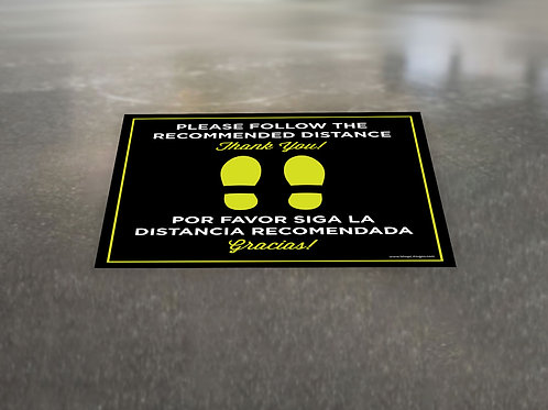 Bilingual Recommended Distance - Floor Graphic