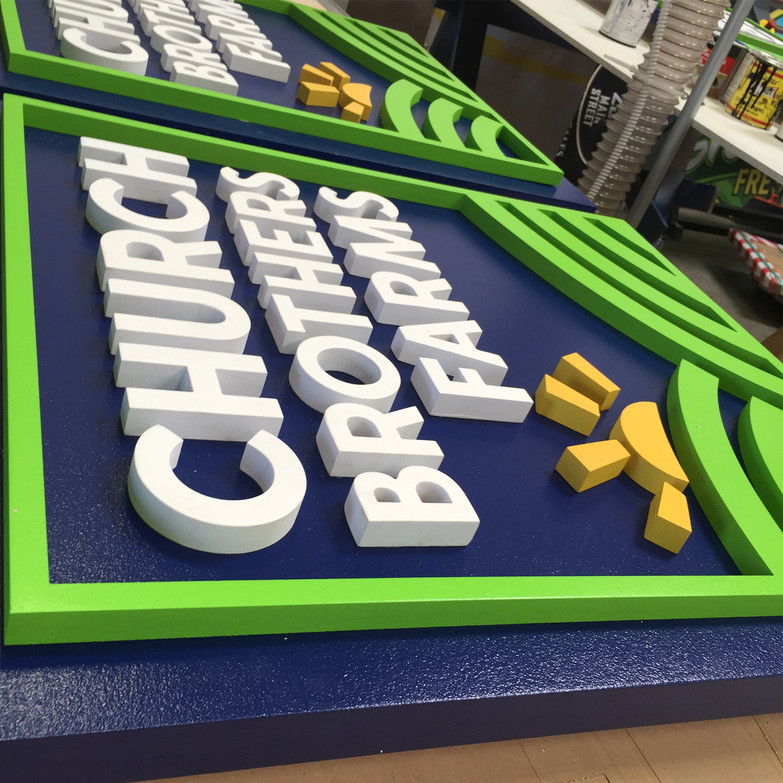 Custom Routed Sign Foam Dimensional Letters Mounted onto Sign Foam Sign