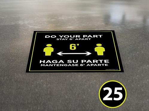 (25 Pack) Bilingual 6' Apart - Floor Graphic