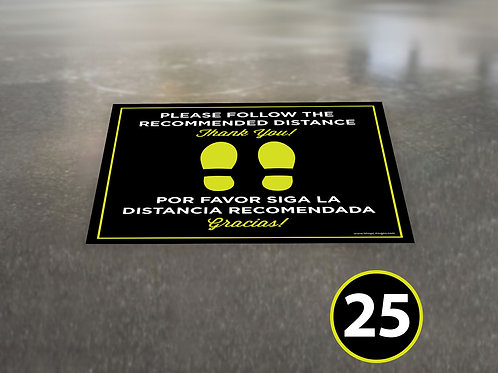 (25 Pack) Bilingual Recommended Distance - Floor Graphic