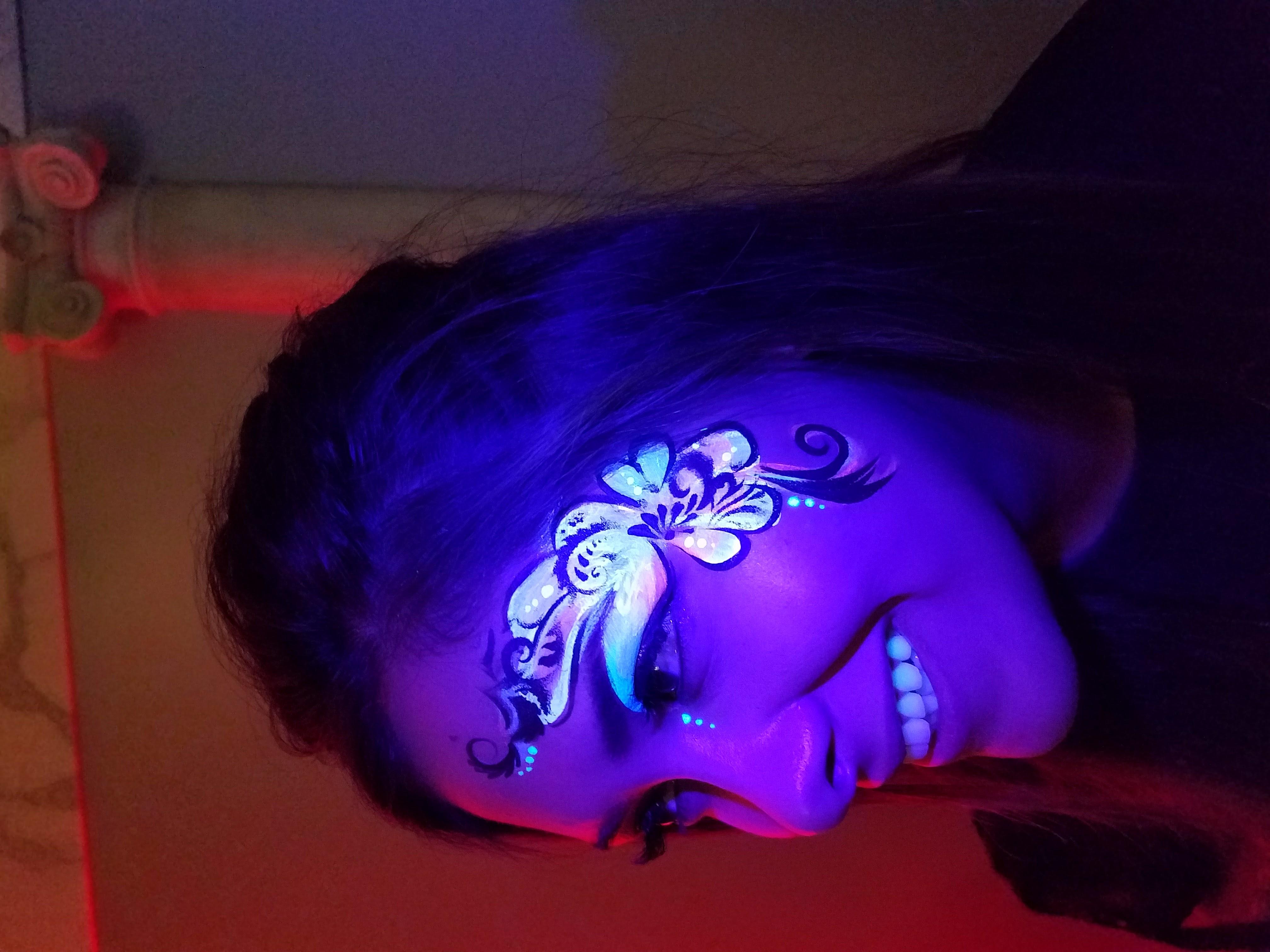 UV floral face (under UV/blacklight)