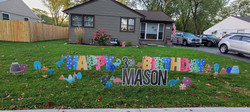 it's a dinosaur party birthday yard signs