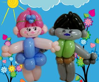 Poppy and Branch Troll balloon animals