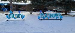 oh boy it's a shower yard signs