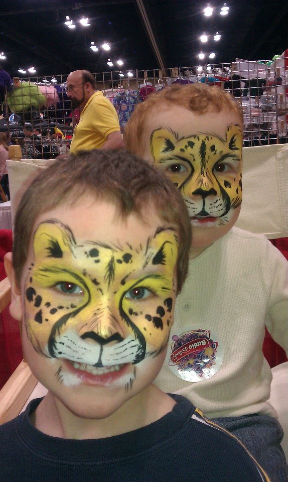 Cheetah brothers face paint masks
