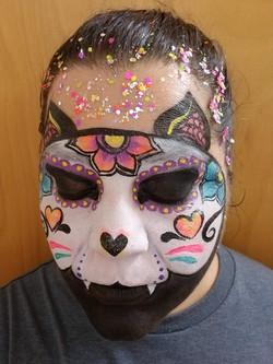 Ceramic cat inspired face paint