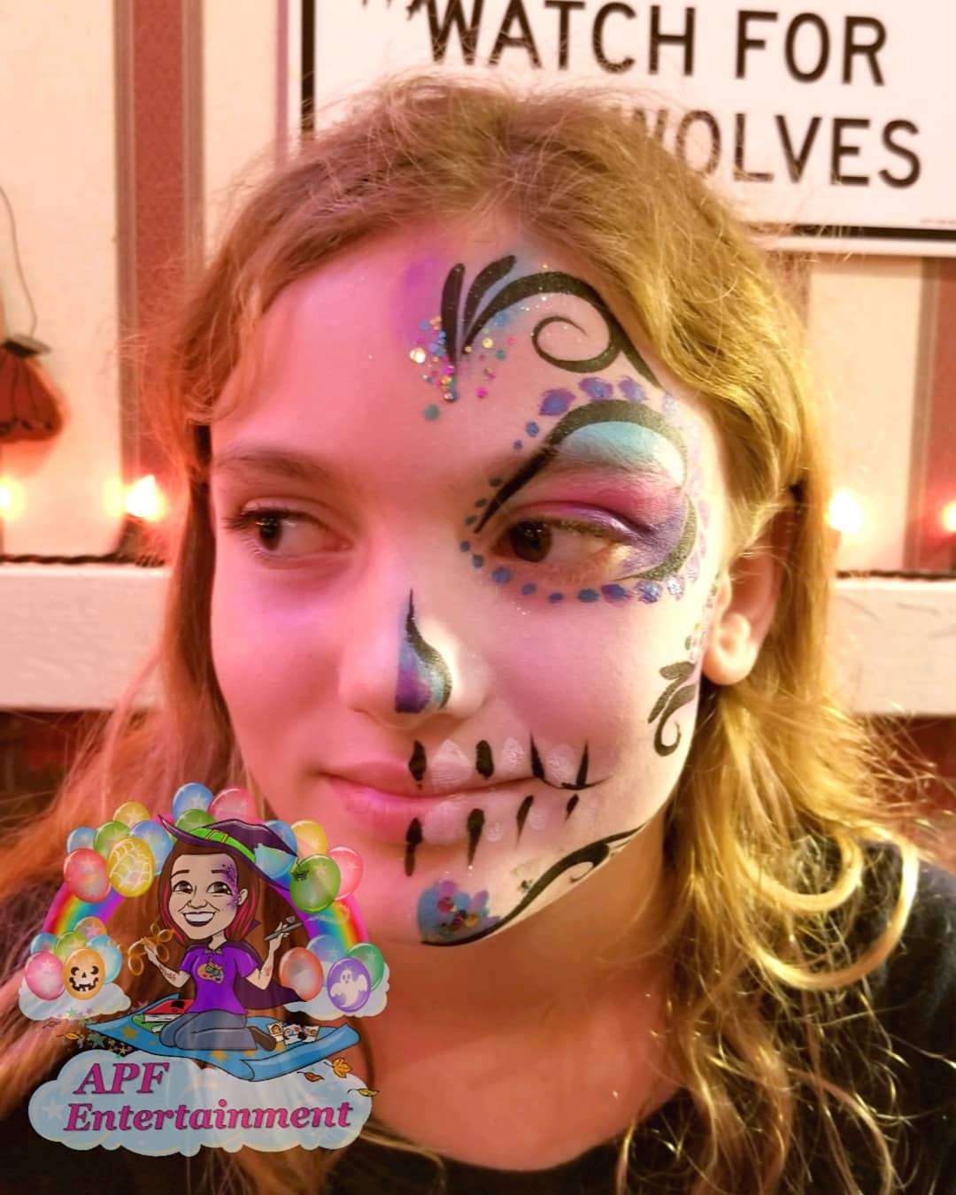 Half sugar skull face