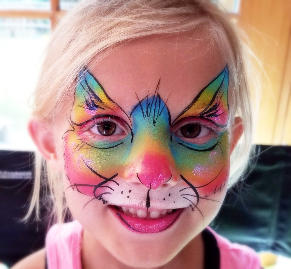 Rainbow kitty cat face