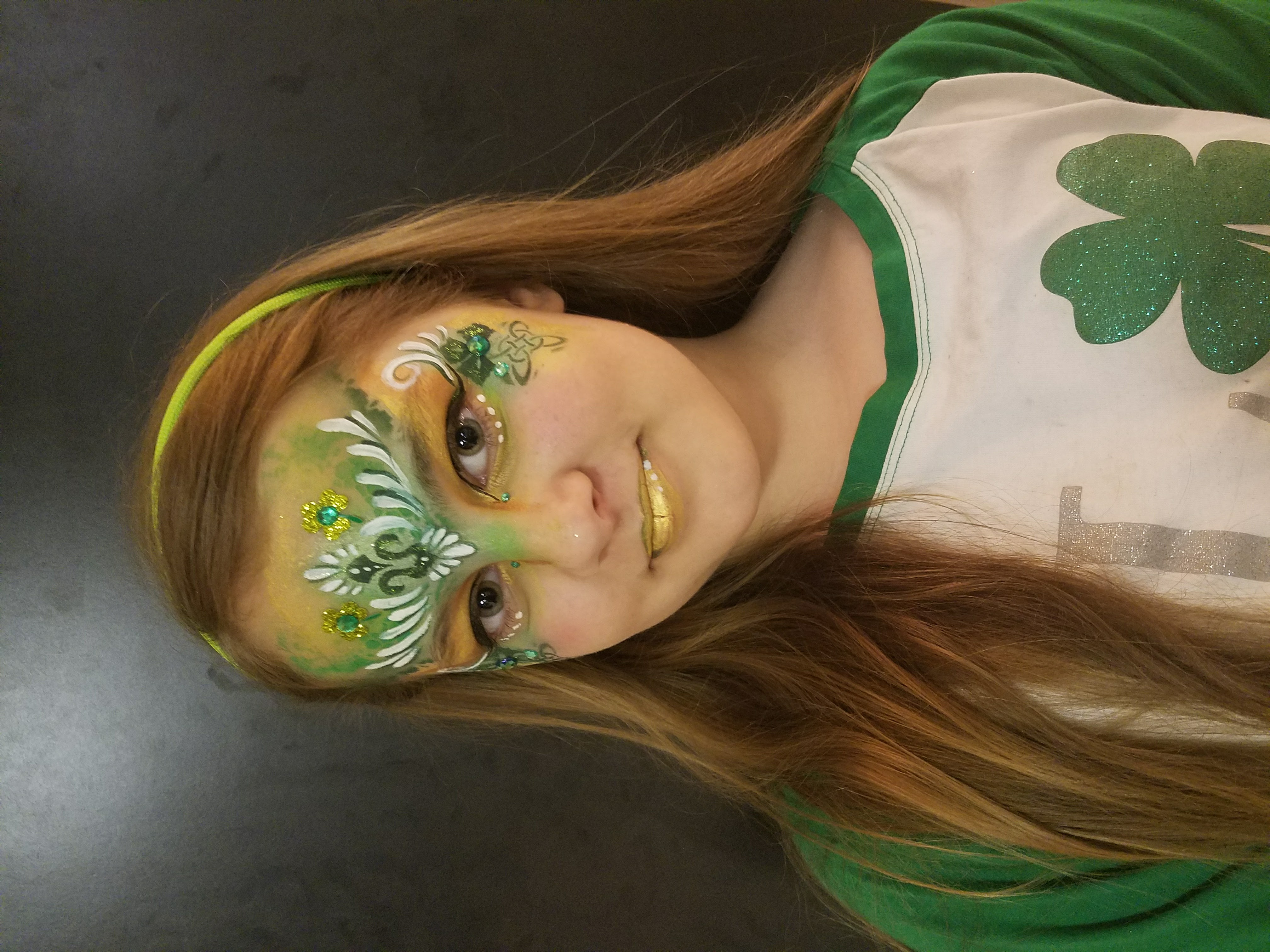 St. Patrick's Day crown face paint