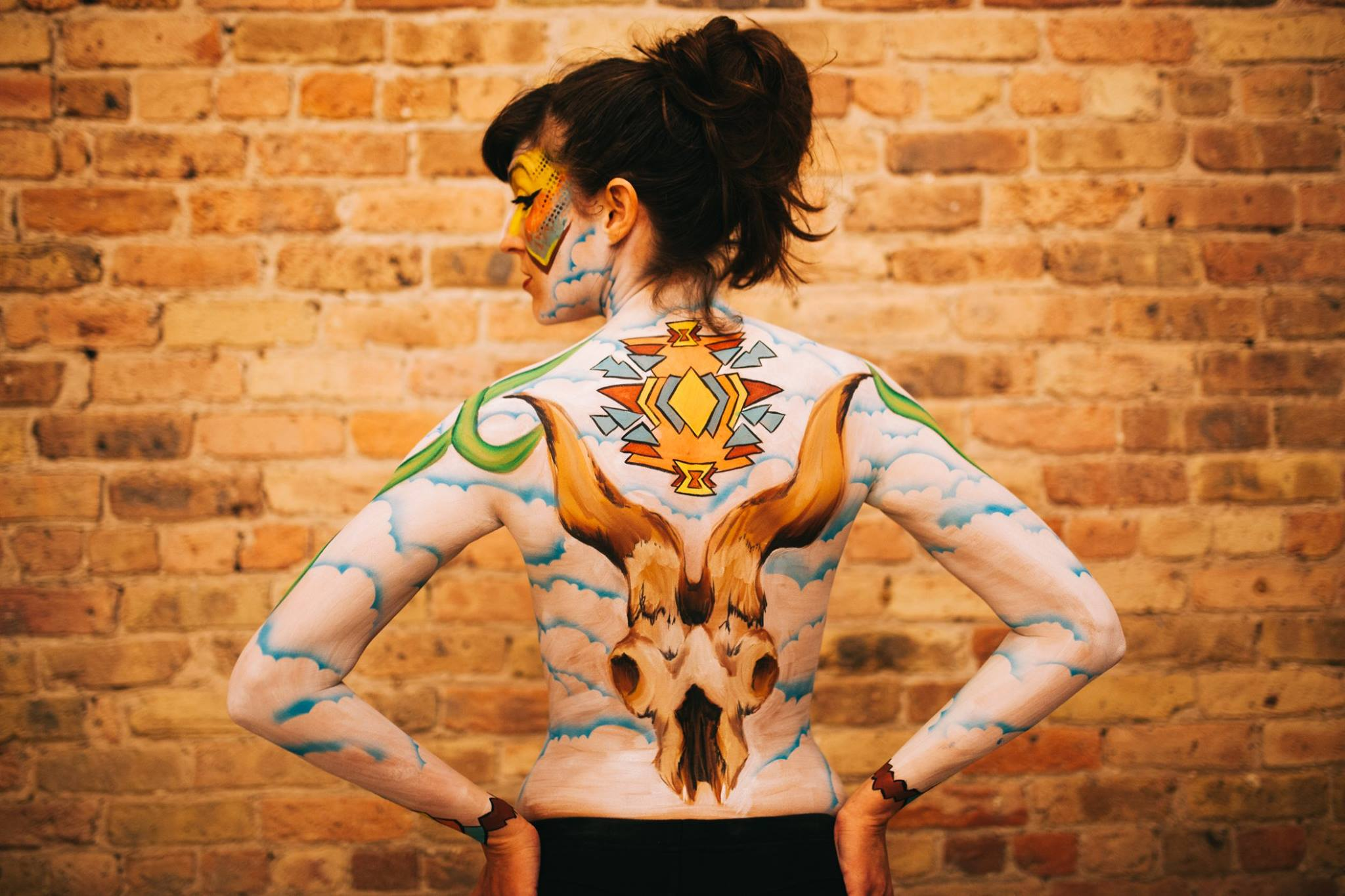 Georgia O'Keeffe tribute body paint