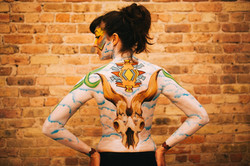 Georgia O'Keeffe tribute body paint
