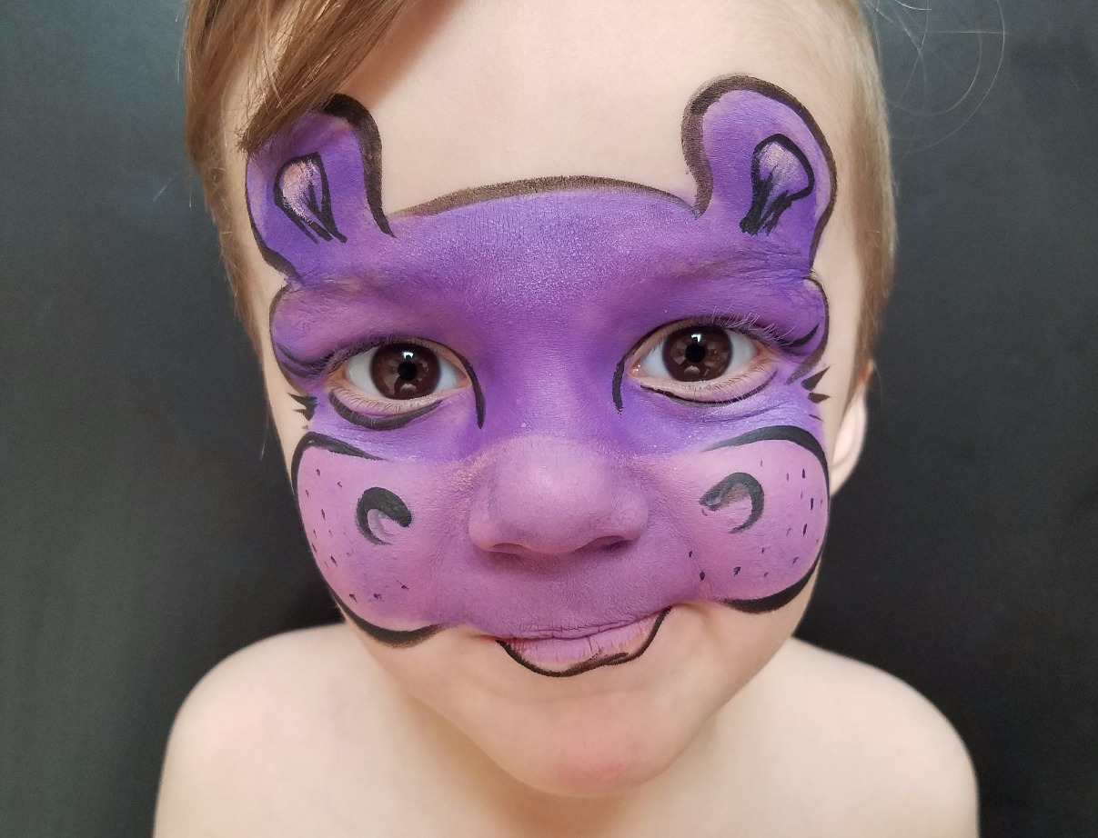 Purple hippo face paint mask