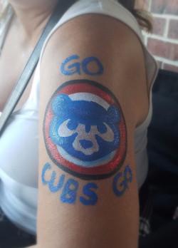 Retro style Chicago Cubs arm paint
