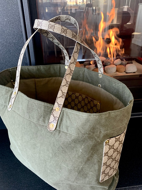 Military pup tent upcycle tote