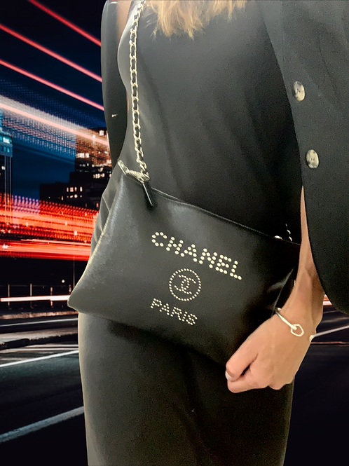 Chanel Deauville studded leather two-way clutch/cross-body