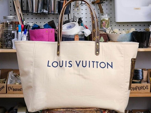 Louis Vuitton Natural Garment-bag upcycle tote
