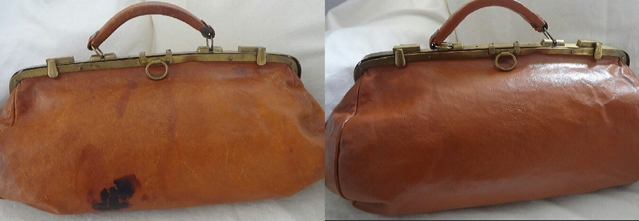 Vintage Doctor Handbag with Ink Stai