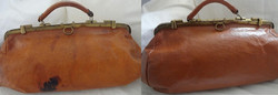 Vintage Doctor Handbag with Ink Stai