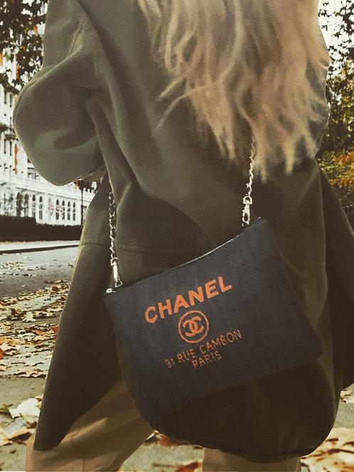 Chanel Deauville Denim Medium O Pouch/cross-body