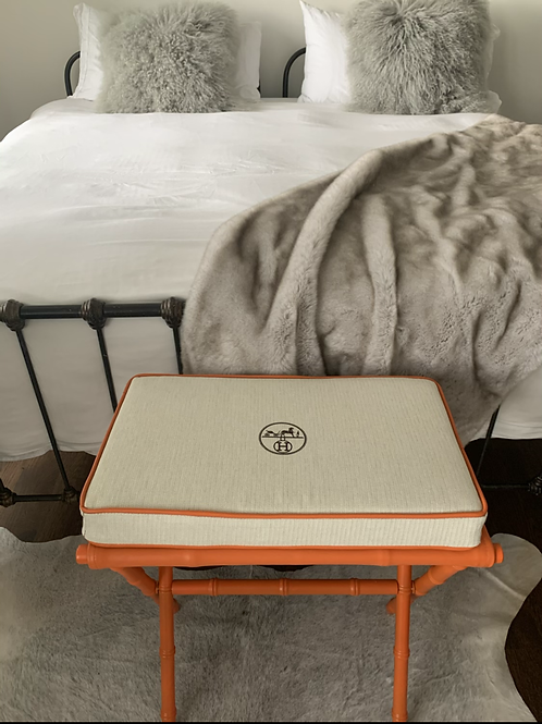 Up-cycle Hermes dustbag bamboo accent bench