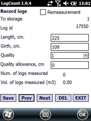 Register information of each log